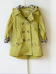 Недорогие -Девичий Худи / толстовка / Куртка / пальто / ТренчОднотонный,Смесь хлопка,Зима / Осень,Зеленый