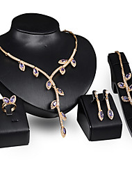 cheap -Jewelry Set - Rose Gold, Cubic Zirconia Vintage, Party, Link / Chain Include Gold / Purple For Party Special Occasion Anniversary / Earrings / Necklace