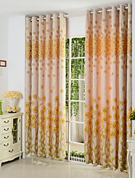 cheap -Rod Pocket Grommet Top Tab Top Double Pleat Pencil Pleat Two Panels Curtain Country , Hollow Out Poly / Cotton Blend Material Curtains