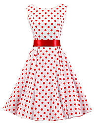 cheap -Women's White Red Polka Dot Dress , Vintage Sleeveless 50s Rockabilly Swing Short Cocktail Dress