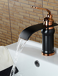 cheap -Art Deco/Retro Widespread Waterfall Ceramic Valve Single Handle One Hole Oil-rubbed Bronze, Bathroom Sink Faucet