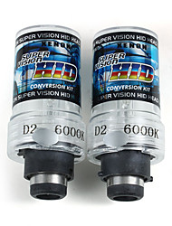 2 X 35W D2S Car HID White Xenon Headlight Light Lamp Bulbs 6000K