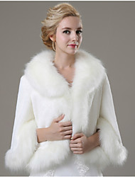 cheap -Long Sleeves Faux Fur Wedding Party Evening Casual Fur Coats Coats / Jackets