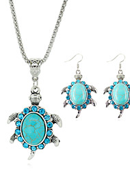 Cute Design Small Crystal Turtle Turquoise Beads Necklace Earrings Jewelry for Women