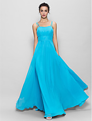 A-Line Spaghetti Straps Floor Length Chiffon Bridesmaid Dress with Draping by LAN TING BRIDE®