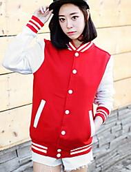 baratos -Mulheres Chique & Moderno Jacket Hoodie - Estilo Moderno, Listrado Estampa Colorida Retalhos