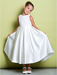 cheap -A-Line Ankle Length Flower Girl Dress - Lace Satin Sleeveless Jewel Neck with Lace by LAN TING BRIDE®
