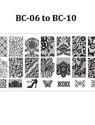 cheap -5pcs BC Nail Art Stamp Stamping Plate 6*12cm Nail Template Mould Manicure Stencil Tools (BC-06 to BC-10)