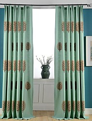 cheap -Grommet Top Double Pleat Two Panels Curtain Modern Neoclassical Country, Print Bedroom Poly / Cotton Blend Material Curtains Drapes Home