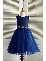 A-Line Knee Length Flower Girl Dress - Taffeta Tulle Sleeveless Scoop Neck with Beading by thstylee