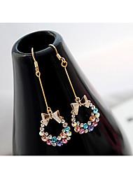 Žene Sitne naušnice Viseće naušnice Slatka Style Kristal Umjetno drago kamenje Legura Bowknot Shape Jewelry Party Dnevno Kauzalni Nakit