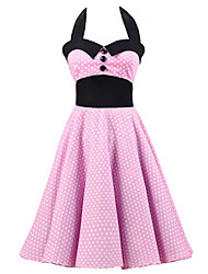 Women's Pink White Mini Polka Dot Dress , Black Collars Big Buttons Vintage Halter 50s Rockabilly Swing Dress