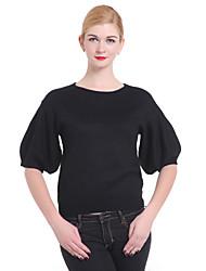 Femme Manches Evasées Normal Pullover Mignon,Couleur Pleine Noir Col Arrondi Manches ¾ Hiver Moyen Micro-élastique