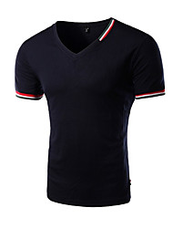 Camiseta De los hombres Un Color-Casual-Algodón-Manga Corta-Negro / Azul / Blanco / Gris