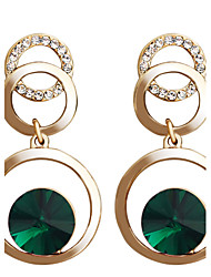 cheap -Drop Earrings Hoop Earrings Crystal Crystal Gold Plated Alloy Fashion Green Pink Jewelry Party Daily Casual 2pcs