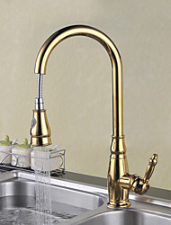 Traditional Pull-out/­Pull-down Deck Mounted Pullout Spray Ceramic Valve Single Handle One Hole Ti-PVD , Kitchen faucet