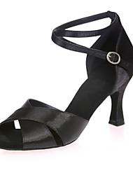 baratos -Sapatos de Dança Latina Cetim Sandália Salto Carretel Personalizável Sapatos de Dança Prata / Marron / Vermelho / Espetáculo / Couro