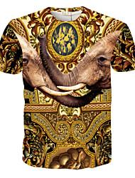 voordelige -Informeel Rond - MEN - T-shirts ( Katoenmengeling )met Korte Mouw