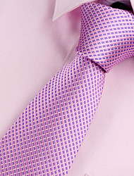 cheap -Men's Polyester Neck Tie,Vintage Party Work Casual Solid All Seasons Pink