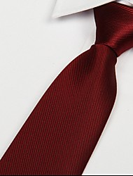 cheap -Wine Red Men Twill Tie Jacquard Arrow Polyester Silk Necktie