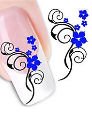 billige -1 Neglekunst Klistermærke Vandoverførende decals 3D Negle Stickere Blomst Abstrakt Makeup Kosmetik Neglekunst Design