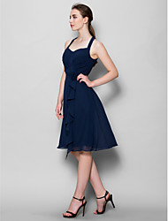 cheap -A-Line Halter Neck Knee Length Chiffon Bridesmaid Dress with Criss Cross / Flower by LAN TING BRIDE®