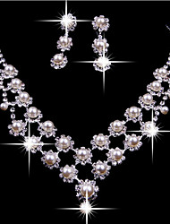 cheap -Women's Pearl Cubic Zirconia Silver Plated Imitation Diamond Jewelry Set Earrings Necklace - Tassel Cute Party Double-layer White For
