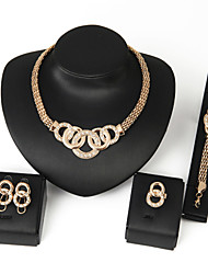 cheap -Women's Jewelry Set Chain Bracelet Statement Jewelry Festival/Holiday Wedding Party Birthday Gift Daily Casual Alloy Round Rings Earrings