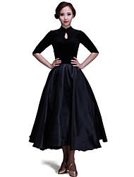abordables -Danse de Salon Robes / Robes et Jupes Femme Entraînement / Utilisation Velours Motif / Impression Demi Manches Robe / Danse moderne