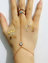 baratos -Mulheres Geométrica Pulseiras Anéis - Strass, Imitações de Diamante Estilo simples, Fashion Pulseiras Dourado Para Casamento / Festa / Diário