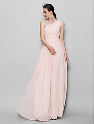 A-Line One Shoulder Floor Length Chiffon Bridesmaid Dress with Side Draping by LAN TING BRIDE®