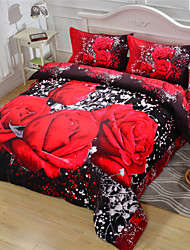 cheap -3D Duvet Cover Red Rose Queen Size Beds 100% Cotton
