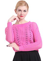 Standard Pullover Da donna Tinta unita Blu Rosa Bianco Grigio Manica lunga Cotone Lino Altro Inverno
