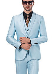 cheap -Sky Blue Solid Colored Standard Fit Serge Suit - Notch Single Breasted One-button / Suits