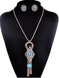 cheap -May Polly Korean fashion female long tassel sweater chain Gemstone Earrings Set