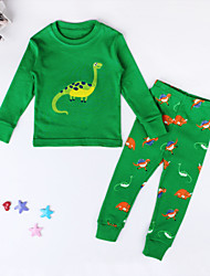 cheap -Children's Daily Going out Holiday Print Clothing Set,Cotton Spring Fall Long Sleeve Cartoon Green