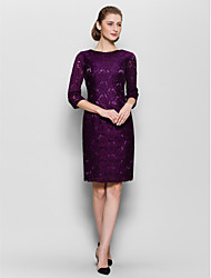 cheap -Sheath / Column Bateau Neck Knee Length Lace Mother of the Bride Dress with Lace by LAN TING BRIDE®