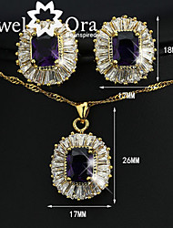 Classic 18k Gold plated Glass Stone And CZ Stone Elegant Jewelry Set For Woman & Lady