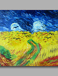 cheap -Ready to hang Stretched Hand-Painted Oil Painting Canvas Abstract Van Gogh repro Wheatfield with Crows One Panel
