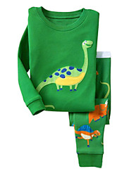 cheap -Children's Daily Going out Holiday Clothing Set, Cotton Spring Fall Long Sleeves Cartoon Green