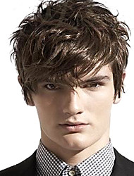 cheap -Synthetic Wig Wavy With Bangs Side Part Brown Men's Women's Capless Carnival Wig Halloween Wig Short Synthetic Hair