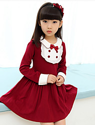 Girl's Cotton Blend  Cotton Blend Winter / Fall  Preppy Look  Revers  lacework Accessories Dress