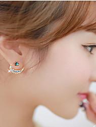 Žene Sitne naušnice Luksuz Moda Europska Umjetno drago kamenje Imitacija dijamanta Legura Kereszt MOON Jewelry Nakit odjeće