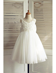 cheap -A-Line Knee Length Flower Girl Dress - Lace Tulle Sleeveless V-neck with Bow(s) by LAN TING BRIDE®