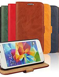 رخيصةأون -DE JI غطاء من أجل Samsung Galaxy حالة سامسونج غالاكسي حامل البطاقات / مع حامل / قلب غطاء كامل للجسم لون سادة جلد PU إلى S5 Mini / S4 Mini / S3 Mini