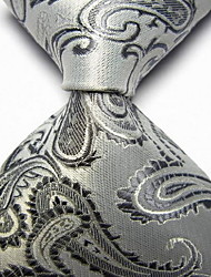 cheap -Men Wedding Cocktail Necktie At Work White Gray Flower Tie