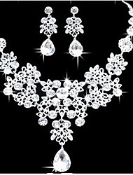 MPL Korean explosion elegant Bride Wedding Necklace Earrings Set