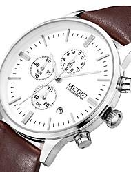 Herren Armbanduhr Quartz Japanischer Quartz Kalender Chronograph Wasserdicht Leder Band Schwarz Braun Marke MEGIR