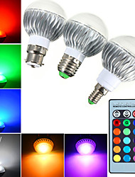 YWXLight® E14 GU10 E27 LED Globe Bulbs A60 1 High Power LED RGB Dimmable Remote-Controlled AC 85-265V