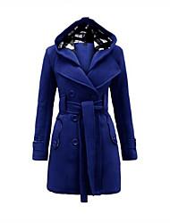 Langærmet Kvinders Hverdag / Plusstørrelser Trenchcoat Polyester